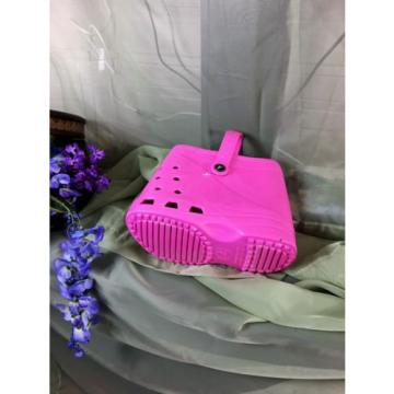 LUBBER Pink Tote Beach Bag Purse Crocs Shoes Footprint