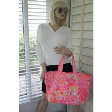 NWT Lilly Pulitzer Palm Beach Tote Bag PINK POUT KINIS IN THE KEYS Travel Bag