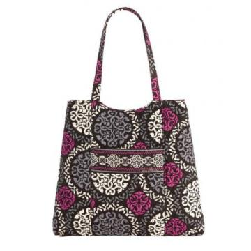 Vera Bradley CURVY TOTE Slim Shoulder Beach Carryall Bag CANTERBERRY MAGENTA NWT