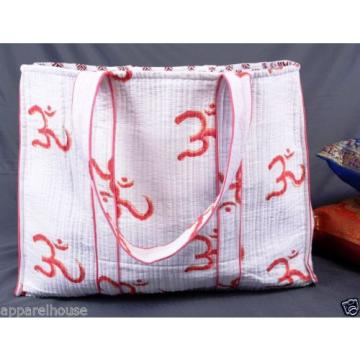 Indian Quilted Cotton Block Printed Bag Reversible Beach bag Women Purse Clutch