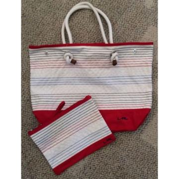 Lauren Ralph Lauren Casco Beach Pouch Striped Bag Large Ivory/Red Multi