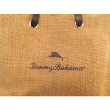 Tommy Bahama Orange & Light Brown / Tan Woven Straw Burlap Tote/ Beach Bag