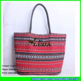 LDFB-005 big size tote bag red sadu fabric beach bags for women