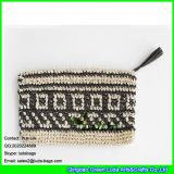 LDZS-059 women fashion crochet clutch bag tassel paper straw knitted handbags