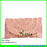 LDYP-052 retail lady fashion evening handbag ice cream color cornhusk straw handmade woven clutches