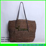 LDLF-008 dark brown raffia straw beach bag foldable crochet raffia totes