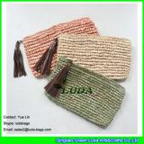 LDZS-161 natural color clutch handbag leather macrame crochet straw handbag