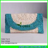 LDYP-052 lake blue and natural striped clutch straw handbags for yong girls