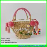 LDHC-008 2018 new pom poms totes handwoven natural straw bag