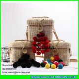LDYP-066 2017 hot sale square storage basket mini messeanger handbag straw beach bag with pom poms