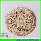 LDLF-021 2018 new design raffia coin pouch natural round raffia clutch straw bag