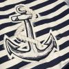 Nautical Anchor Blue and White Striped Canvas Tote Travel Beach Shopping Bag