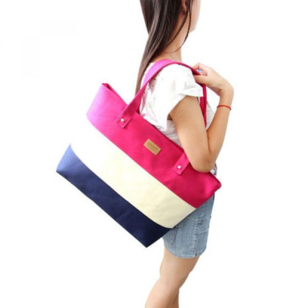Beach Bag Handbag Tote Shoulder Purse Pink Large Canvas New Shopping Travel New #2 image