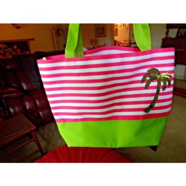 QUACK FACTORY BEACH BAG OR PURSE PINK & WHITE STRIPE SEQUINED PALM TREE #1 image