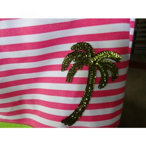 QUACK FACTORY BEACH BAG OR PURSE PINK & WHITE STRIPE SEQUINED PALM TREE #2 image