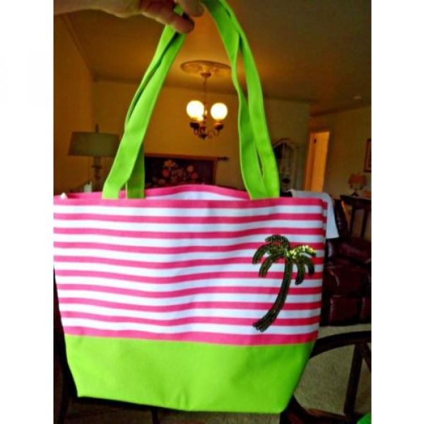 QUACK FACTORY BEACH BAG OR PURSE PINK & WHITE STRIPE SEQUINED PALM TREE #3 image