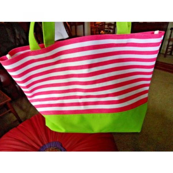 QUACK FACTORY BEACH BAG OR PURSE PINK & WHITE STRIPE SEQUINED PALM TREE #4 image