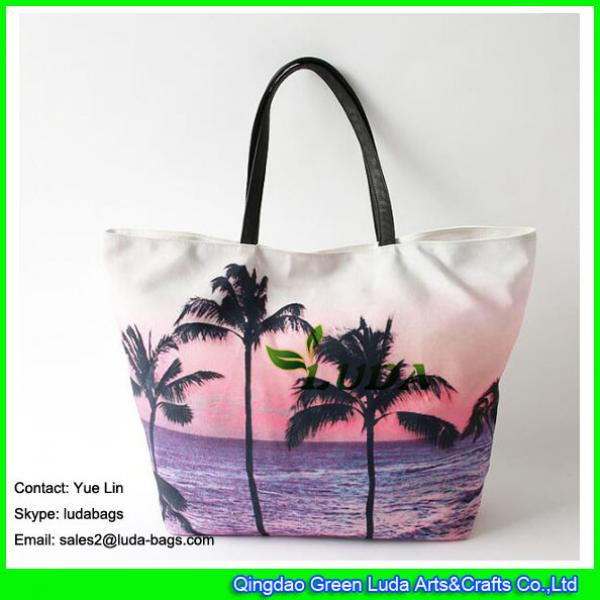 LDFB-052 Tropical sunset print tote bag large women canvas tote beach bags #1 image