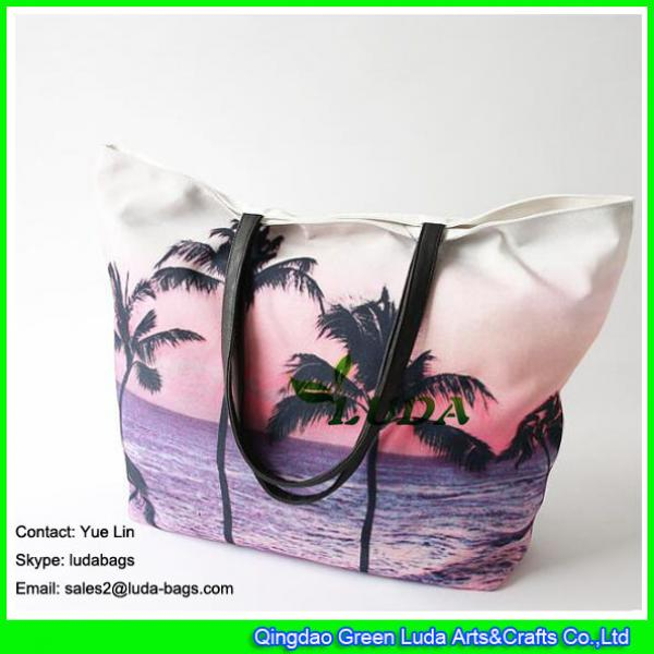LDFB-052 Tropical sunset print tote bag large women canvas tote beach bags #2 image
