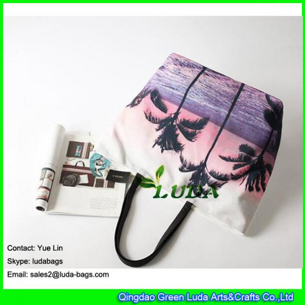 LDFB-052 Tropical sunset print tote bag large women canvas tote beach bags #3 image