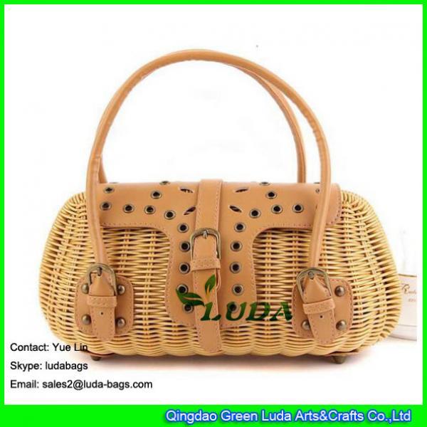 LDTT-009 2018 new designer rattan handbag lady handmade straw rattan bag #3 image