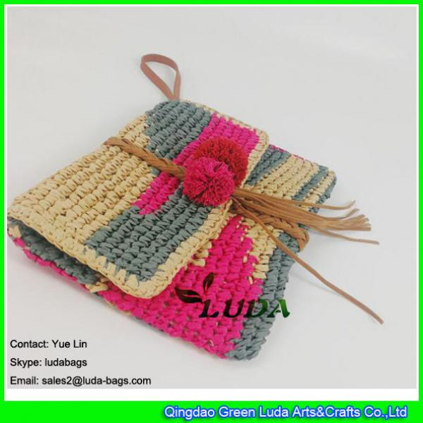 LDZS-012 color block women purse hand crochet  clutch summer paper straw handbag #1 image