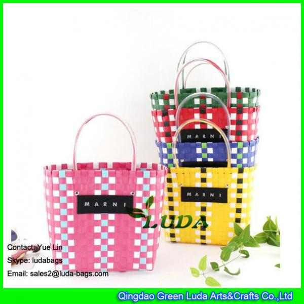 LDSL-045 pp strap woven tote bag mixed color waterproof  beach bag for women #1 image