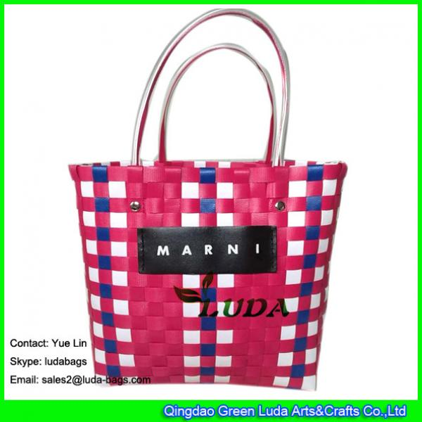 LDSL-045 pp strap woven tote bag mixed color waterproof  beach bag for women #2 image