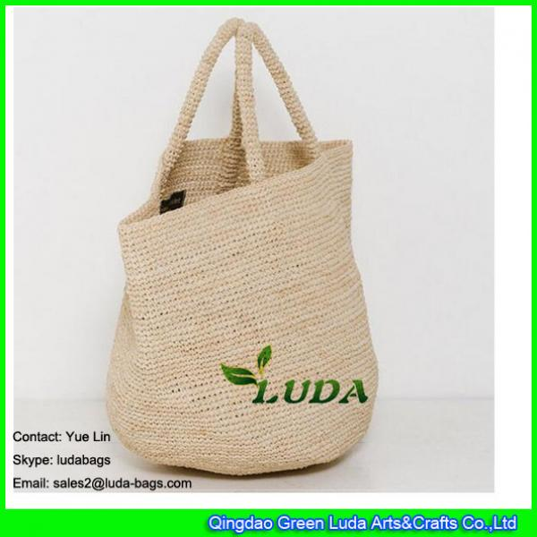 LDLF-010 Large Beach Bag Natural Straw Crochet Raffia Bag #1 image