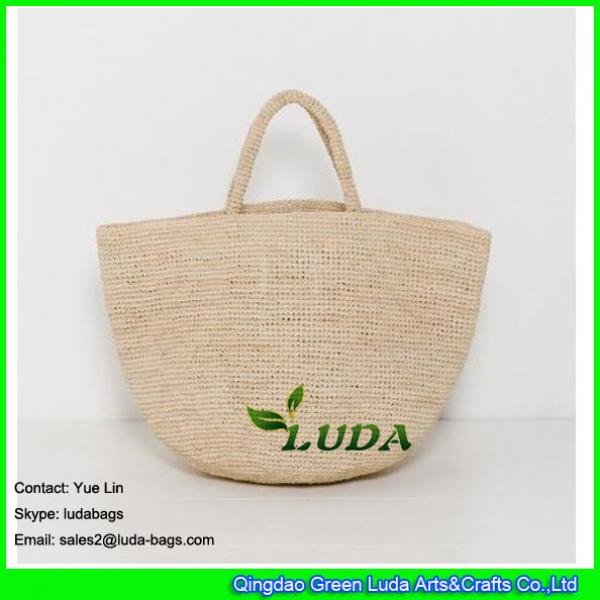 LDLF-010 Large Beach Bag Natural Straw Crochet Raffia Bag #2 image