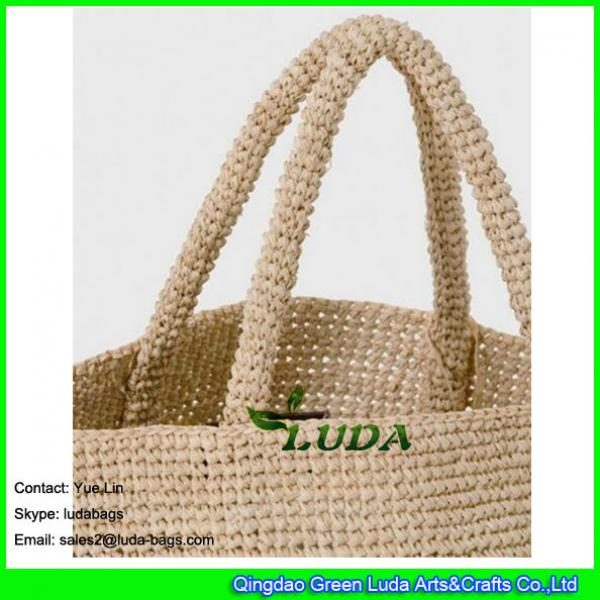 LDLF-010 Large Beach Bag Natural Straw Crochet Raffia Bag #3 image