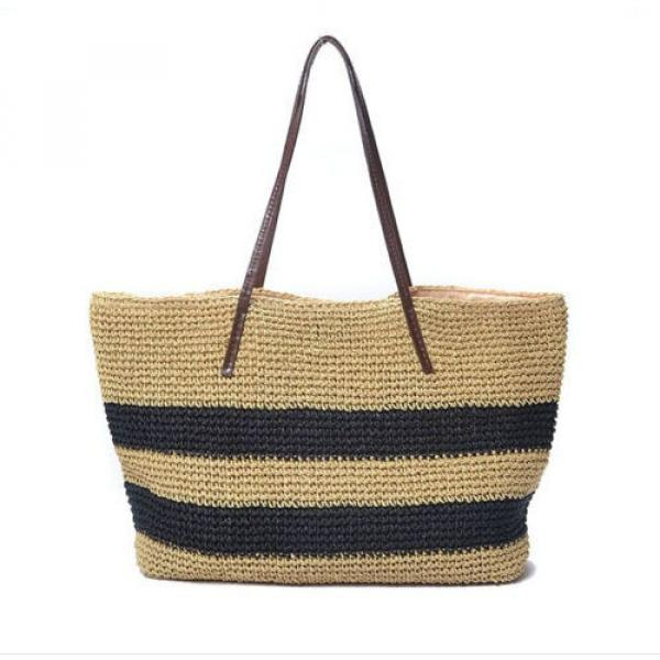 New Women Black Strips Straw Woven Beach Tote Shoulder Bag Handbag #1 image