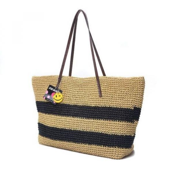 New Women Black Strips Straw Woven Beach Tote Shoulder Bag Handbag #2 image