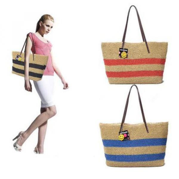 New Women Black Strips Straw Woven Beach Tote Shoulder Bag Handbag #3 image
