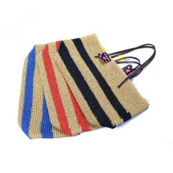 New Women Black Strips Straw Woven Beach Tote Shoulder Bag Handbag #5 image
