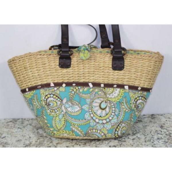 Womens Vera Bradley Authentic Large Straw Peacock Beach Bag Tote Handbag Purse #2 image
