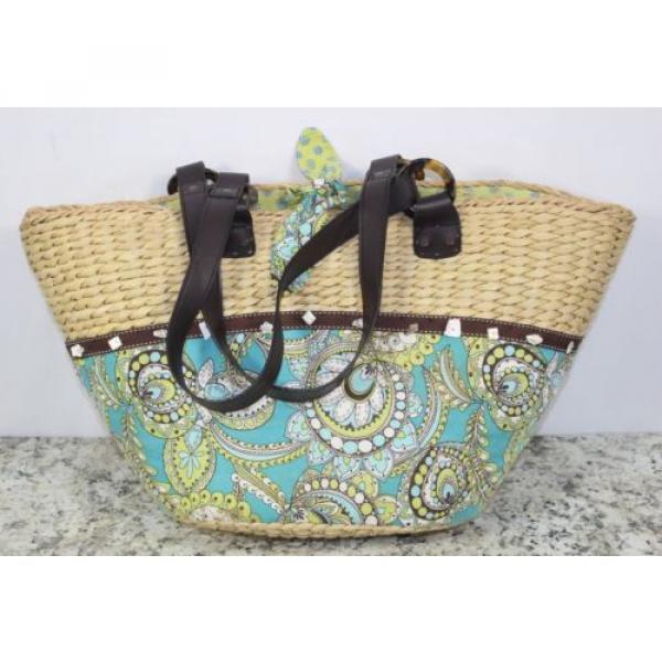Womens Vera Bradley Authentic Large Straw Peacock Beach Bag Tote Handbag Purse #3 image