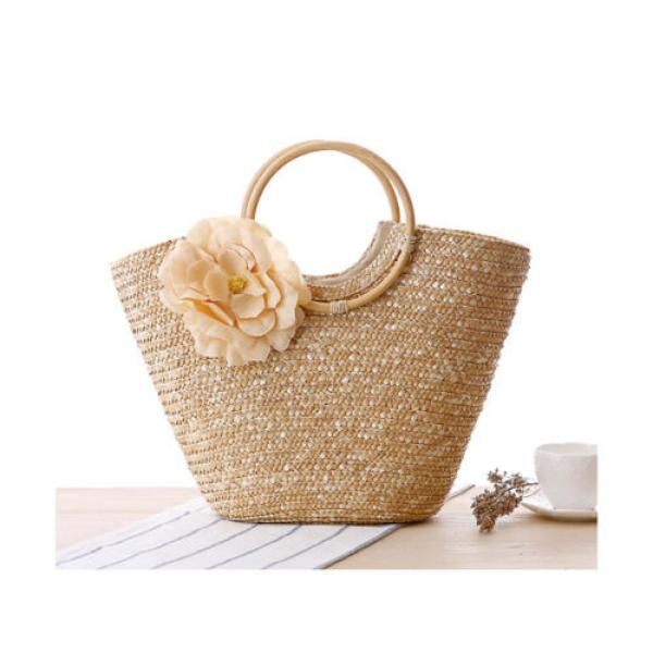 Summer Style Beach Rattan Women Handbag Flowers Vacation Bag #5 image