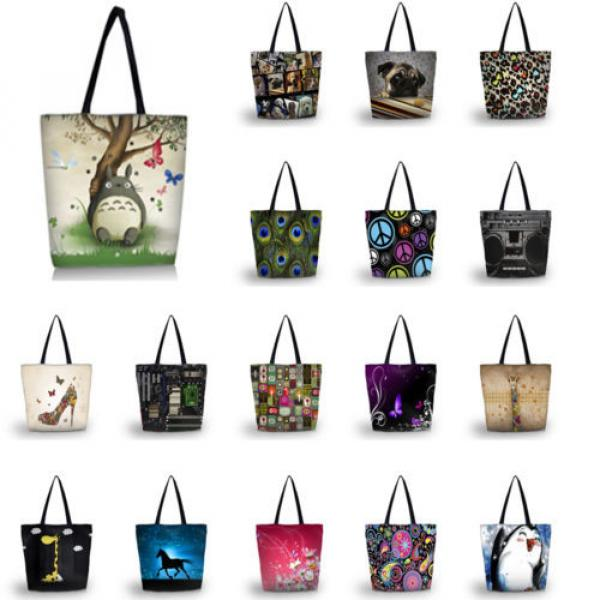 Ladies Womens Large Foldable Tote Shoulder Shopping School Bag Handbag Beach Bag #1 image