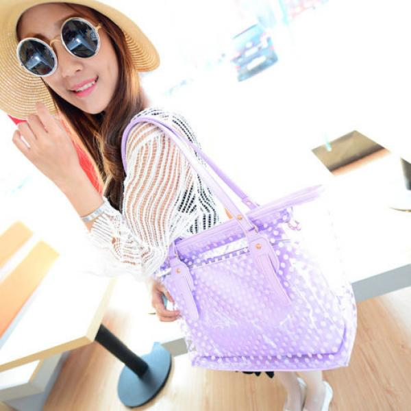 Women Sweet Jelly Clear Transparent Handbag Tote Plastic Dot Beach Shoulder Bags #2 image