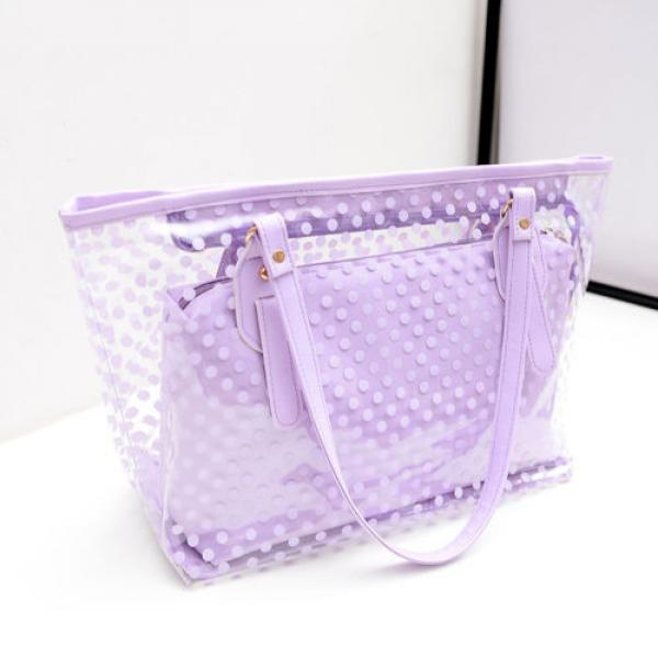 Women Sweet Jelly Clear Transparent Handbag Tote Plastic Dot Beach Shoulder Bags #3 image