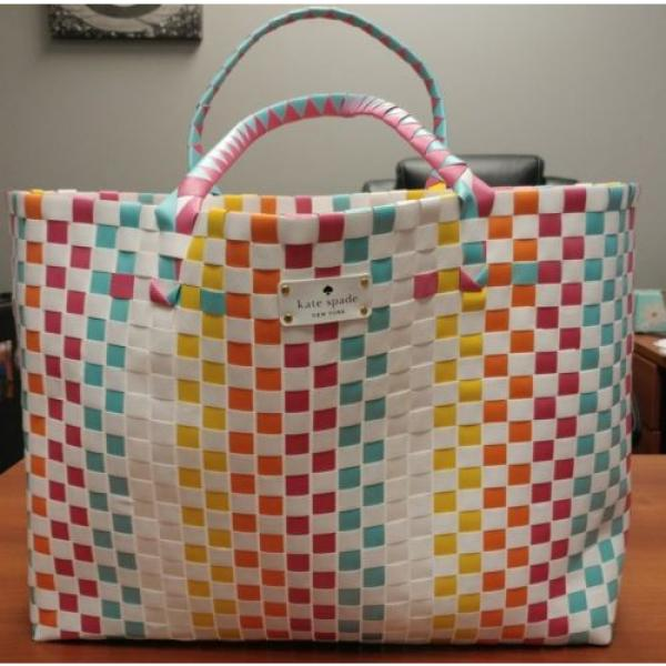 KATE SPADE NEW YORK Extra large Tote Shopper Beach Shoulder Bag Multicolor NEW #1 image