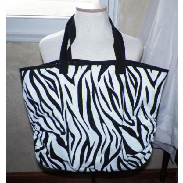 Black and White Zebra Print Large Tote Shopper Shoulder Bag Handbag Beach Bag #1 image
