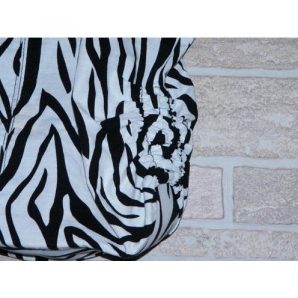 Black and White Zebra Print Large Tote Shopper Shoulder Bag Handbag Beach Bag #2 image