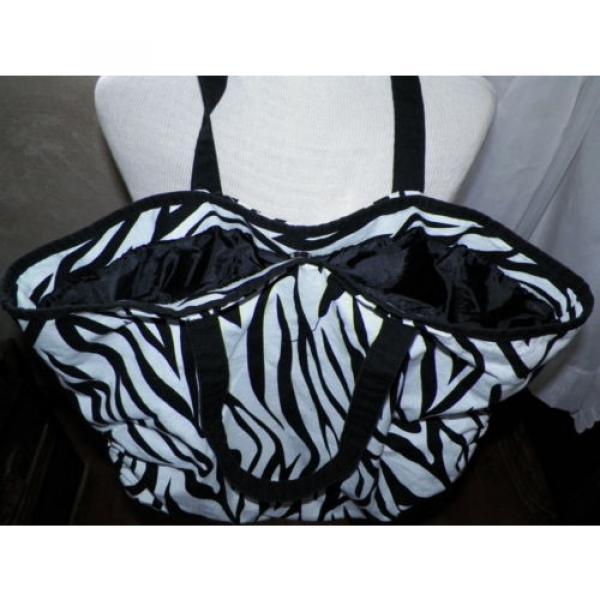 Black and White Zebra Print Large Tote Shopper Shoulder Bag Handbag Beach Bag #3 image