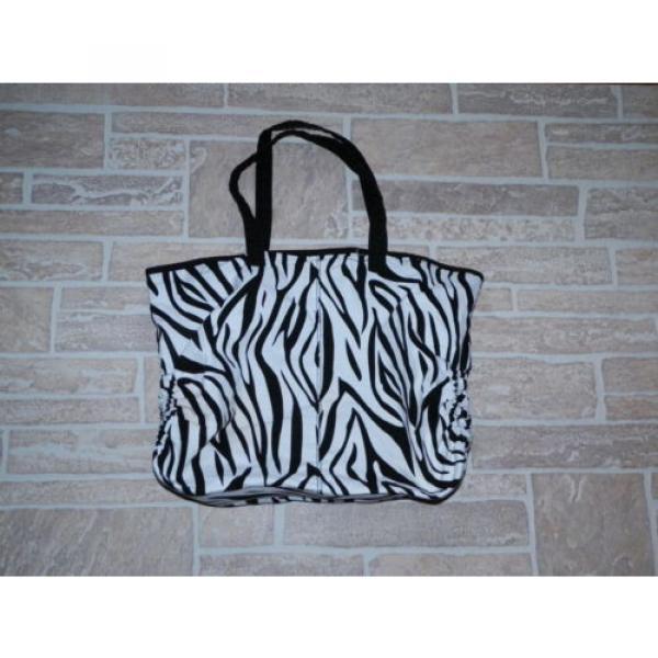 Black and White Zebra Print Large Tote Shopper Shoulder Bag Handbag Beach Bag #4 image