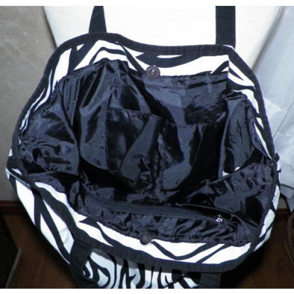 Black and White Zebra Print Large Tote Shopper Shoulder Bag Handbag Beach Bag #5 image