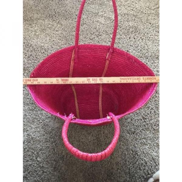 Pink Natural Straw Large Summer Beach Shopper Tote Bag Vacation Bag #4 image