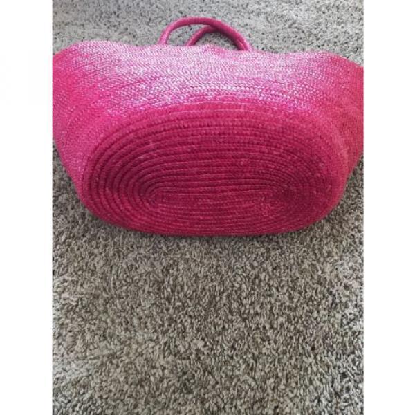 Pink Natural Straw Large Summer Beach Shopper Tote Bag Vacation Bag #5 image