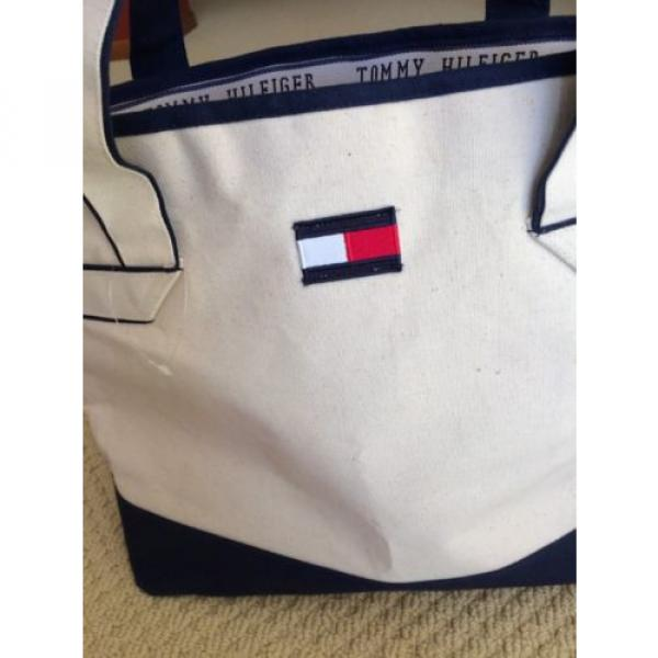 Tommy Hilfiger Tote Bag Urban Beach CANVAS TOTE - Cream Large w pocket- NWOT #2 image